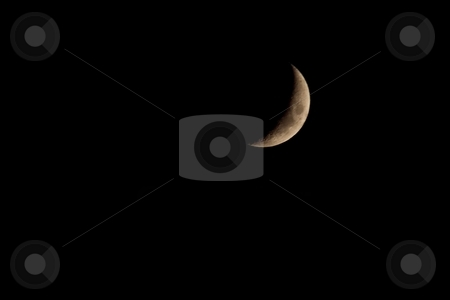 Crescent Moon stock photo, In astronomy, a crescent is the shape of the lit side of a spherical body (most notably the Moon) that appears to be less than half illuminated by the Sun as seen by the viewer. by Mariusz Jurgielewicz
