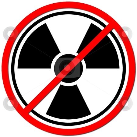 Against Atom stock photo, White sign agaisnt radiation on white background. by Henrik Lehnerer