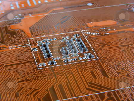 Computer Motherboard 1 stock photo, Orange Computer Motherboard by Stuart Atton