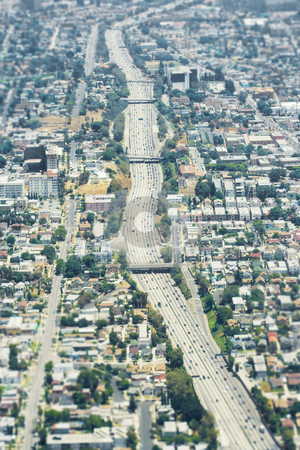 Aerial Los Angeles stock photo, Aerial view of the 101 freeway in Los Angeles, California. by Brite Blue Spot