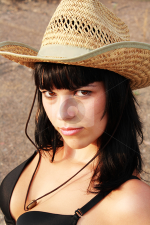 Sexual girl in hat stock photo, Portrait sexual girl in hat by Sergii Mogyla
