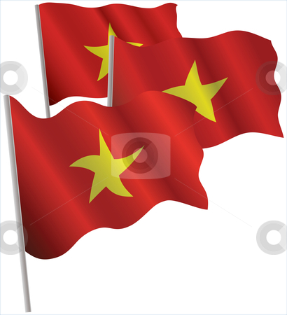 Socialist Republic of Vietnam 3d flag. stock vector clipart, Socialist Republic of Vietnam 3d flag. Vector illustration. Isolated on white. by Andrey Khritin