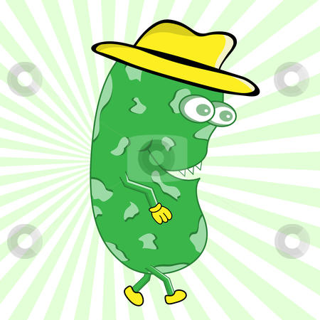Monster with Hat Cartoon Character stock vector clipart, Happy green monster wearing matching yellow hat, gloves and shoes. Funny cartoon character. Green sunburst in background. by toots77