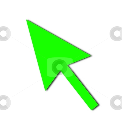 Cursor Arrow Mouse Green stock photo, Cursor Arrow for the use with mouse or other pointer. by Henrik Lehnerer