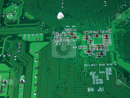 Computer Motherboard stock photo, Green Computer Motherboard by Stuart Atton