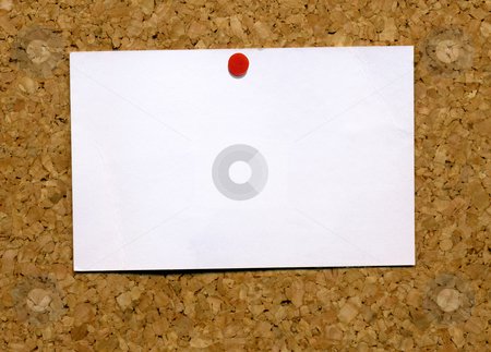 Small blank white business card attached to a cork notice board. stock photo, Small blank white business card attached to a cork notice board. by Stephen Rees