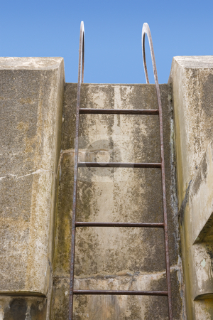 Fort Worden Bunker stock photo, Ladder at Fort Worden military bunker in Port Townsend Washington. by Travis Manley