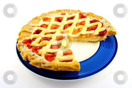 Apple and Strawberry Pie with a Slice Missing stock photo, Whole apple and strawberry pie on a blue plate with a slice missing on a white background by Keith Wilson