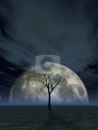 Full moon stock photo, Lonely dead tree and the moon - 3d illustration by J?
