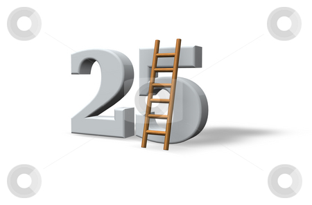 Twenty five stock photo, The number twenty five - 25 -  and a ladder on white background - 3d illustration by J?