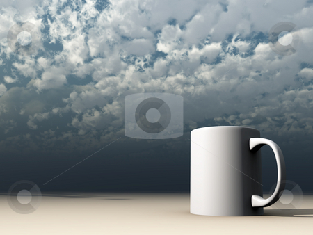Mug stock photo, White mug in front of cloudy sky - 3d illustration by J?