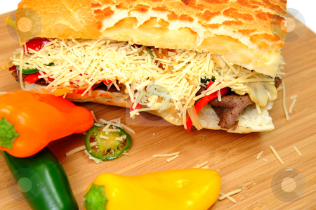 Steak And Sweet Pepper Sandwich stock photo, Steak and Sweet Pepper Sandwich with mild jalapeno chili and grated asiago cheese by Lynn Bendickson