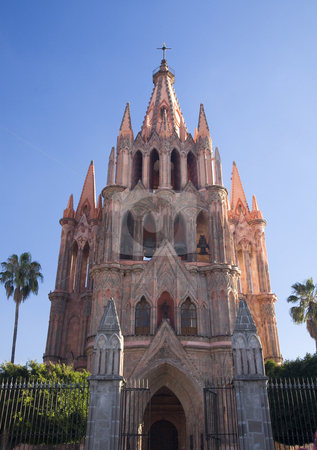 Pink Parroquia Archangel Church San Miguel Mexico Daytime stock photo, Parroquia Archangel gothic pink church, San Migeuel de Allende, Mexico daytime by William Perry