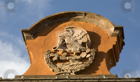 Stone Symbol of Mexico Government Building San Miguel Mexico stock photo, Stone Symbol of Mexico, Eagle, Rattlesnake, Mexican Government Building, San Miguel de Allende by William Perry