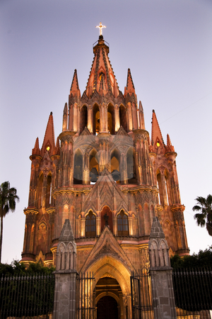 Evening Church Lights Parroquia Archangel Church San Miguel Mexi stock photo, EveningLights Parroquia Archangel Church San Miguel de Allende, Mexico by William Perry