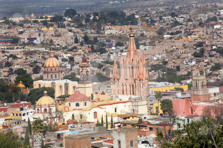 San Miguel de Allende Mexico Overlook Parroquia Archangel Church stock photo, San Miguel de Allende, Mexico, Overlook Parroquia Archangel Church Close Up, Churches Houses and No Trademarks by William Perry