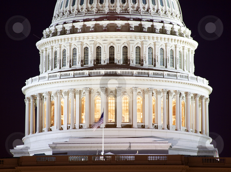 US Capitol Dome Closeup Night Washington DC stock photo, US Capitol Dome Closeup Congress House Capital City Washington DC by William Perry