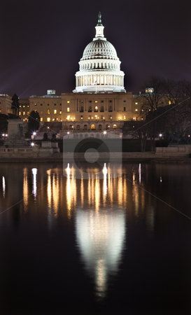 US Capitol Night Washington DC with Reflection  stock photo, US Capitol Congress House Representatives Senate Capital City Washington DC With Reflection by William Perry