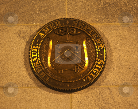 US Treasury Department Seal Washington DC stock photo, US Treasury Department Seal On Building Washington DC by William Perry