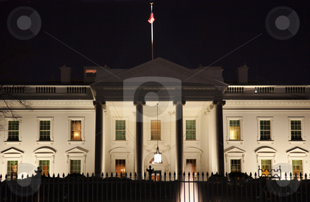 White House Night Pennsylvania Ave Washington DC stock photo, White House Pennsylvania Ave Night Washington DC by William Perry