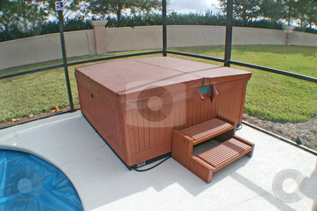 Hot Tub stock photo, A Hot Tub near to a Pool in a Florida Home. by Lucy Clark