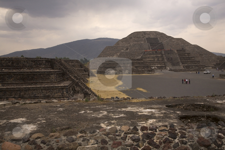 Moon Pyramid Teotihuacan Mexico stock photo, Moon Pyramid Teotihuacan Mexico from the Palace of Quetzalpapaloti by William Perry