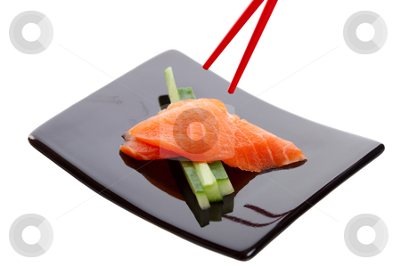 Salmon Sashimi stock photo, Japanese sushi dish called Salmon Sashimi.  Shot on white background. by Brenda Carson