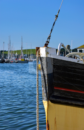 Fishing Boat Bow stock photo, Bow of a fishing boat moored in Falmouth harbour Cornwall by Robert Ford