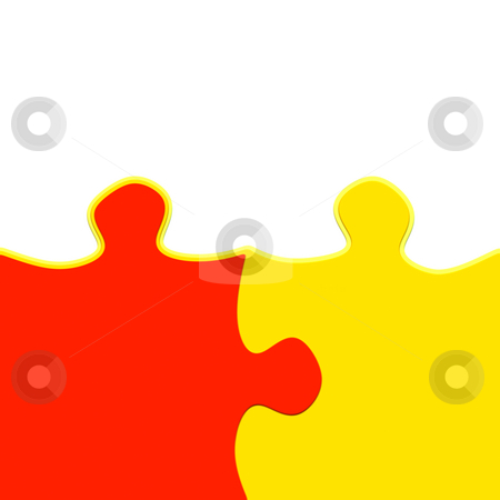 Jigsaw friendship stock photo, Yellow and red 3d puzzle pieces intertwined symbolic for a close relationship by Wino Evertz