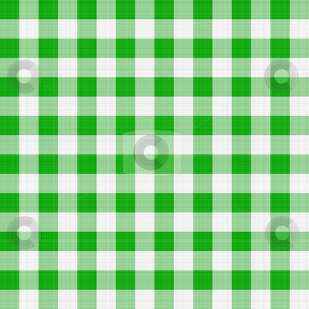 Green table cloth stock photo, Seamless texture of green and white blocked tartan cloth by Wino Evertz