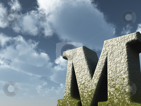 Big M stock photo, Letter M rock in front of blue sky - 3d illustration by J?