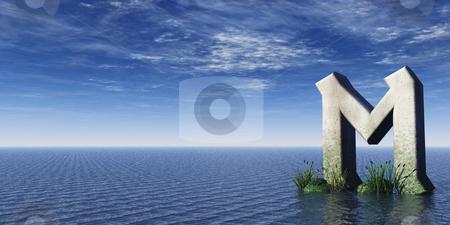 Rune rock stock photo, Viking rune rock at the ocean - 3d illustration by J?