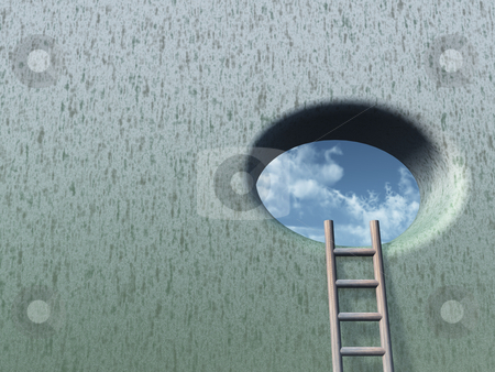 Hope stock photo, Wound with round hole and ladder - 3d illustration by J?