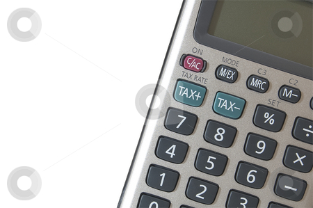 Tax calculator stock photo, A calculator isolated on white and cropped to emphasise the tac calculation buttons, with copy-space. by Jeff Carson