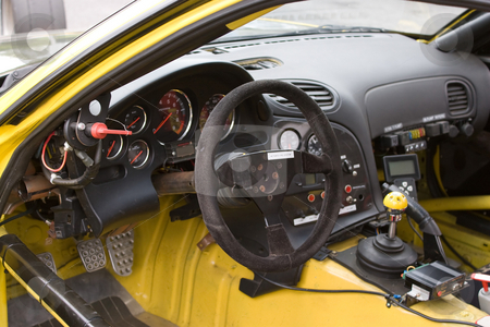 Racecar Cockpit stock photo, The cockpit of a sports car customized for track racing. by Todd Arena