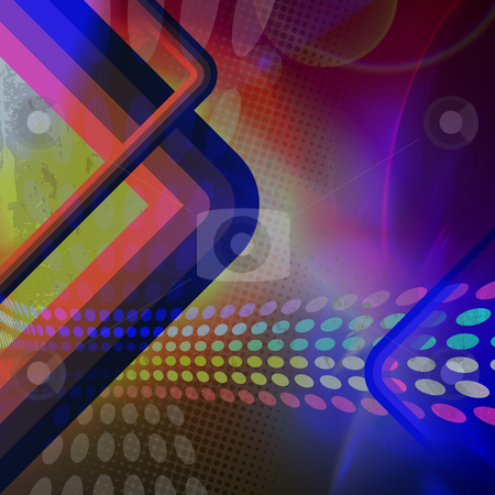 Funky Retro Backdrop stock photo, A funky retro background illustration in a rainbow color scheme. by Todd Arena