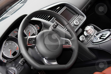 Modern Sports Car Interior stock photo, The interior of a modern luxury sports car by Todd Arena