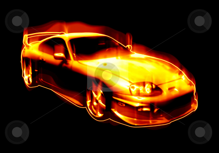 Fiery Blazing Sports Car  stock photo, Abstract illustration of a fiery sports car isolated over black. by Todd Arena