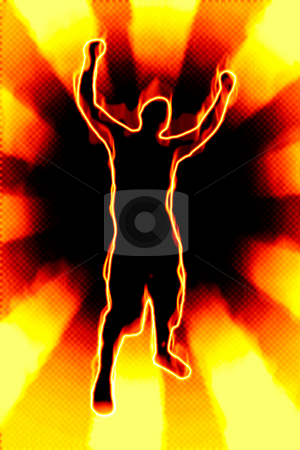 Fiery Man Silhouette stock photo, A fiery silhouette illustration of a young man throwing his hands up in the air. by Todd Arena