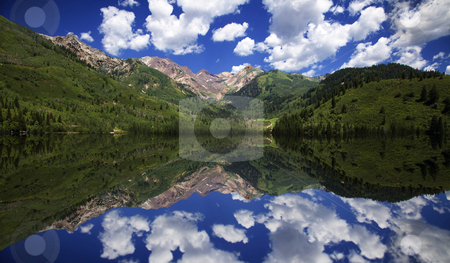 Mountain Reflections stock photo, Mountainl Lake  showing reflections with blue sky's by Mark Smith