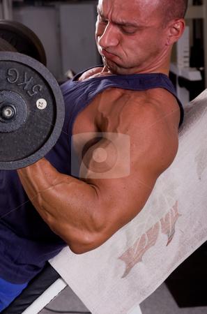 Bodybuilder stock photo, Bodybuilder training his bicep by Istv??n Cs??k