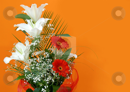 Flower bouquet over orange stock photo, White lilies and red daisies over orange background by Julija Sapic