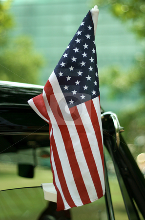 Stars and Stripes stock photo, Star spangled banner at a old-timer car by Alexander Zschach