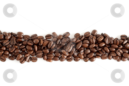 Line of coffee beans stock photo, A line of isolated coffee beans with white background by Alexander Zschach