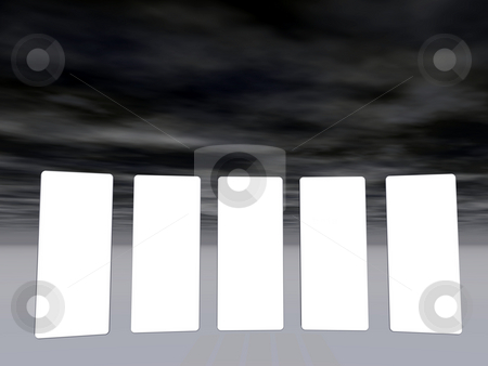 Gallery stock photo, Presentation background in five parts with fluffy sky - 3d illustration by J?