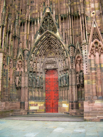 Strasbourg cathedral stock photo, Strasbourg cathedral door by Jaime Pharr