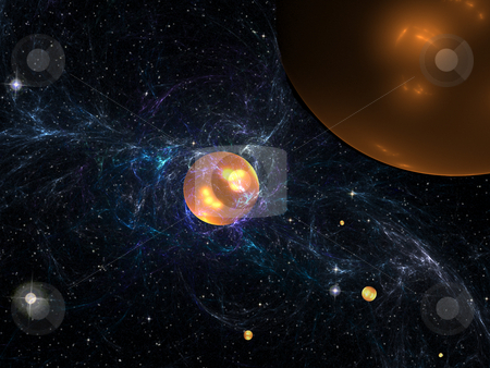 Space energy stock photo, Image evidently showing physical processes of magnetic storm in depths of galaxy. by citcarsten