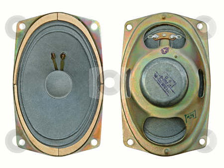 Old loudspeaker stock photo, The head of reproduction dynamic, magnetoelectric. The rear view and in front. by citcarsten