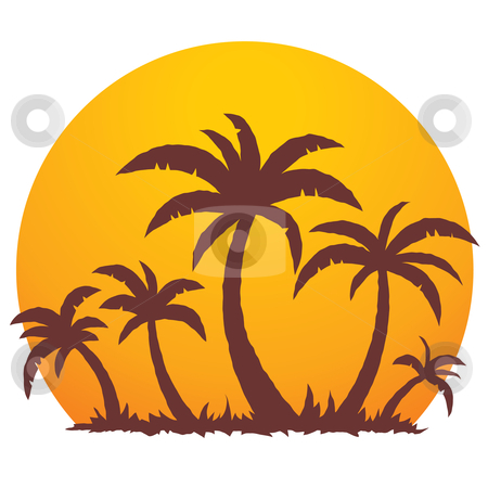 Palm Trees and Summer Sunset stock vector clipart, Vector illustration of a tropical sunset and palm trees on a small vacation island paradise. by John Schwegel