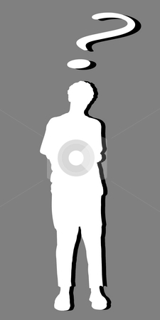 White silhouette of a man and a question mark stock photo, White silhouette of a man and a question mark, with black shadow by Fabio Alcini